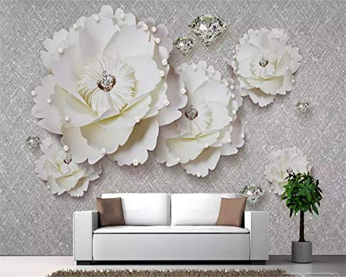 3D Tapete Wandgemälde Atmosphäre vorzügliches Pfingstrosen-weiches Diamant-Juwel-Wand-Hintergrund-Wand-Wohnzimmer Kleber senden 300X210cm (Juwel-kleber)