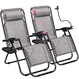 Superworth Set Of 2 Gray Folding Zero Gravity Chairs Sun Lounger Recliner For