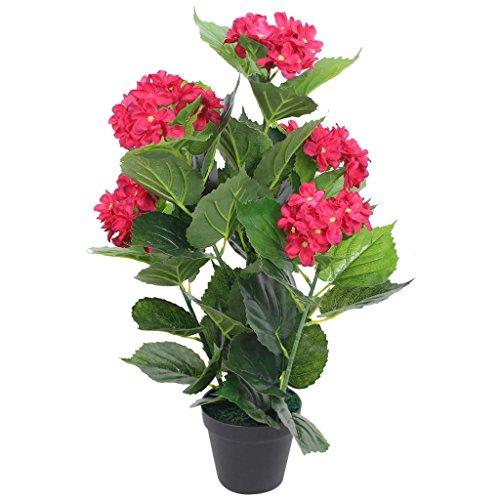 vidaXL Künstliche Hortensie mit Topf Kunstpflanze Kunstblume Kunstbaum 60 cm Rot