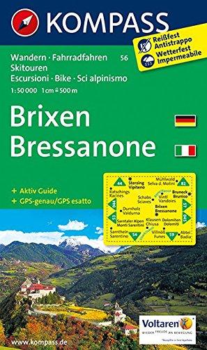 Preisvergleich Produktbild Brixen /Bressanone: Wanderkarte mit Aktiiv Guide, Radrouten und alpinen Skirouten. Dt. /Ital. GPS-genau. 1:50000 (KOMPASS-Wanderkarten, Band 56)