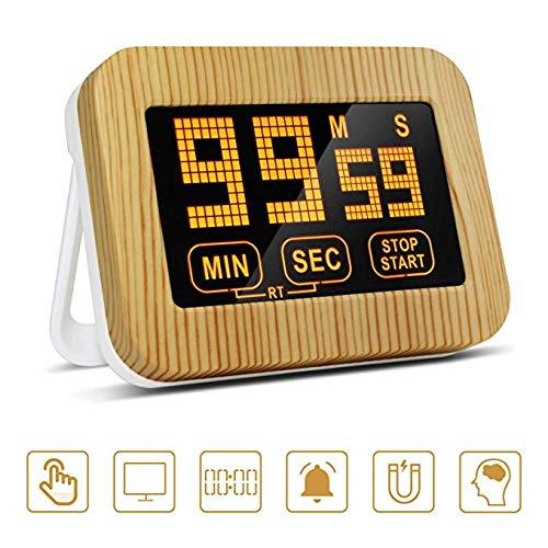 ZealBoom Touchscreen Küchenuhr Timer Digitaler, Küchentimer Magnetisch Elektronische Eieruhr Stoppuhr mit LCD Display und Stand, Lauter Wecker für Kochen/Studie/Sport Übung (AAA Batterien)