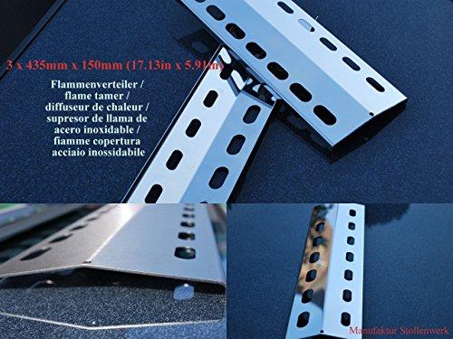 3 x 435mm x 150mm Edelstahl Flammenverteiler / Flammenabdeckung / Grillblech - super Ersatzteil für Enders, Santos, Broilmaster etc. (435-150-1)