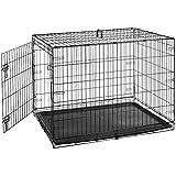 AmazonBasics Single-Door Folding Metal Dog Cage with Paw Protector (Large)