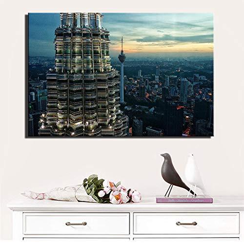 Kuala Lumpur Twin Towers Poster Und Drucken Malaysia Sehenswürdigkeiten Moderne Stadt Landschaft Bilder Wohnzimmer Malerei 60x90 cm ungerahmt PC6112