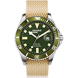 NATURAL PARK Men Chronograph Multi-Function Quartz Watch, Green Dial Analogue Display and Nylon Strap(Luminous Hands)