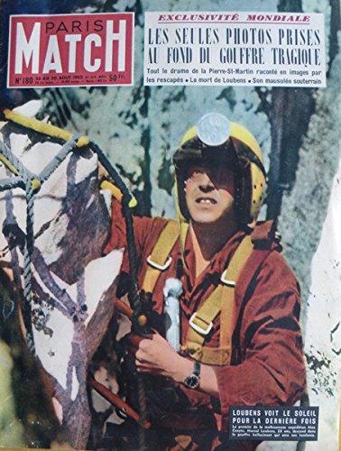 Paris match, n° 180, 23 au 30 août 1952 : le drame de pierre-st-martin les photos du gouffre le nouveau lourdes italien romance à monte-carlo pour ginger rogers par Collectif