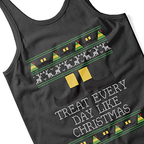 Treat Every Day Like Christmas Elf Quote Knit Men's Vest Black
