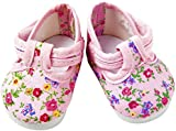 FRILLY LILY Pink Flower Dolly Doodle Shoes large size 8.2 cmx 4.2cm.TO FIT DOLLS SUCH AS 46 CM BABY ANNABELL