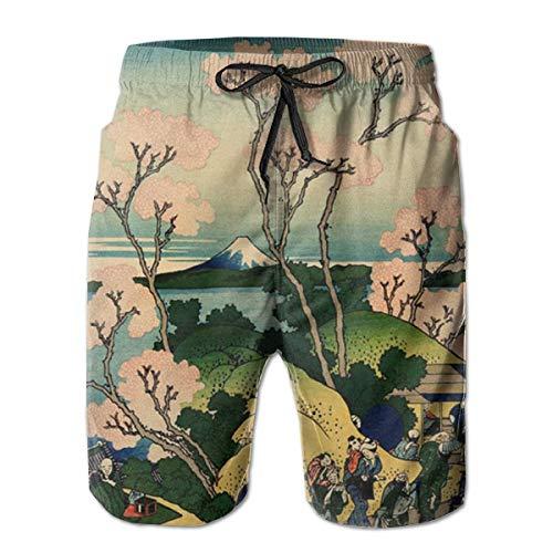 khgkhgfkgfk Mens Quick Dry Strand Shorts Badehose (Hokusai Japan Ink Kirschblüte Mount Fuji)