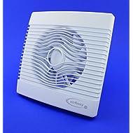 Ventilatore da bagno con sensore di umidità, igrostato e Timer/avvio posticipato, da soffitto e parete, bianco, diametro 100 mm, a incasso