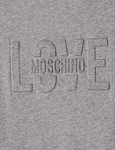 Love Moschino Short Sleeve With Love Embossing Print, T-Shirt Donna Grigio (Mel.dark Grey B933)
