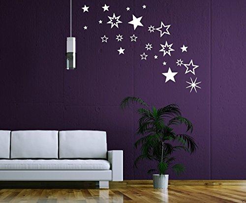 30 selbstklebende Sterne Fensteraufkleber 70001 - dunkelrot weinrot - Deko Wandaufkleber...