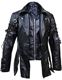 Punk Rave Poison Black & Red Jacket Mens Faux Leather Goth Steampunk Halloween Coat, XXS-3XL