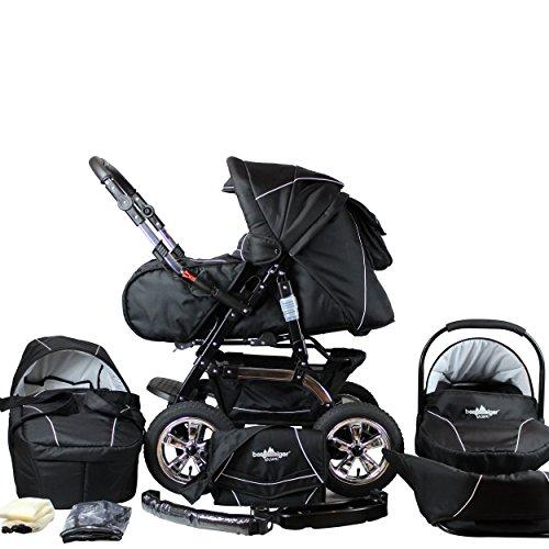 Bergsteiger Milano Kombikinderwagen + Autositz mit Travelsystem (Megaset 10 - teilig); Farbe: Black Edition