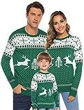 Aibrou Familie Festliche Gestrickte Pullover Weihnachtspullover Rundhals Sweater Strickpullover