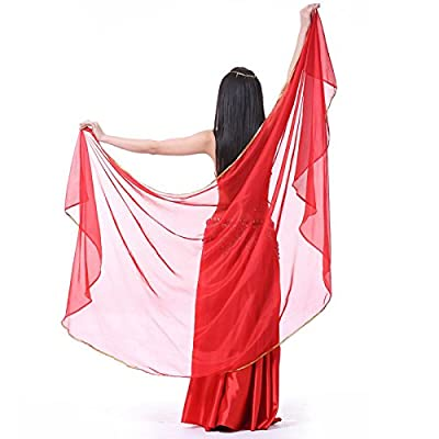 New 250*120cm Large Chiffon Belly Dance Veils Shawl Scarf Oriental Eastern Costumes for Women Bellydance Indian Dancing Accessories orange One Size