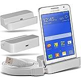 ( White + Data Cable ) Samsung Galaxy Core II SM-g355 Protective Stylish Fitted Micro USB Desktop Base de carga base plana con datos Micro USB Sync Cable de carga por CONECTADOX3