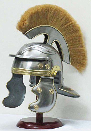 ses Roman Centurion Helmet Medieval Armor Officer Centurion Helmet with Yellow Plume and comes with leather Liner by Shiv Shakti Enterprises (Roman Centurion Armor Kostüm)