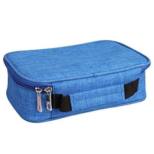ibwaren Tragbar mit Reißverschluss Federtasche viele Fäche Schulmäppchen große Kapazität Bleistift-Box Blau für Junge Schüler Mädchen Mäppchen leicht zu tragen ()