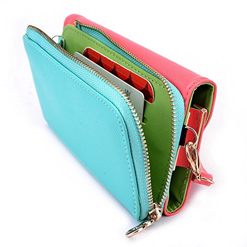 Kroo d'embrayage portefeuille avec dragonne et sangle bandoulière pour Smartphone Nokia 208 Noir/rouge Rouge/vert