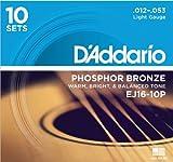 D\'Addario Cordes en bronze phosphoreux pour guitare acoustique D\'Addario EJ16-10P, Light, 10 jeux