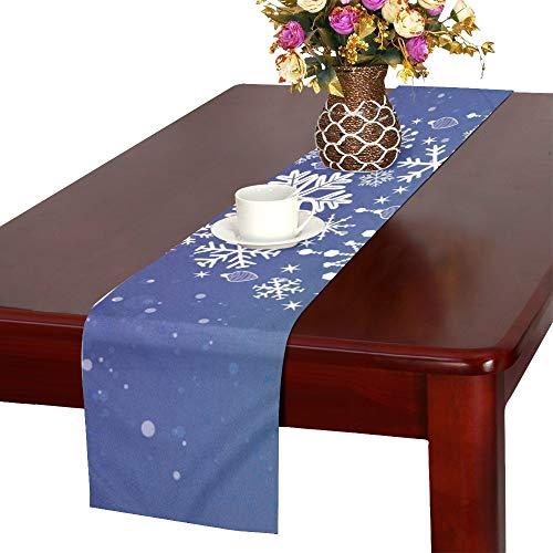 eeflocke-Weihnachtsbaum auf blauem Tischläufer, Küchen-Speisetisch-Läufer 16 x 72 Zoll für Dinner-Parties, Ereignisse, Dekor ()
