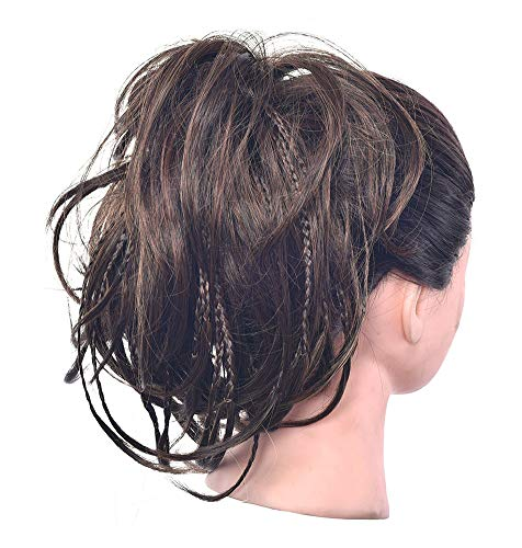 WANXJM Pferdeschwanz Donut Chignon Updo Ribbon Zubehör, Curly Wavy Pieces für Damen, Messy Scrunchie Hair Bun Extensions,2/30