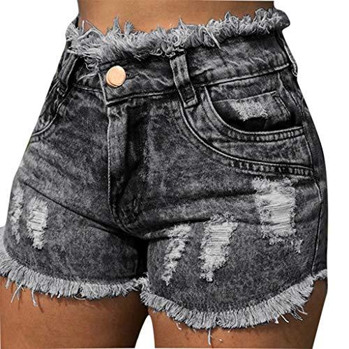 e Mode Elegant Sommer Stretch Taschenloch Jeans Weibliche Hohe Taillen Reizvolle Kurzschlüsse Freizeithose Strandhose Sommerhose(L,Schwarz) ()
