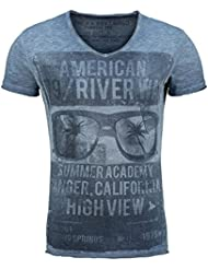 Key Largo T-Shirt T RIVER WAY grün V-Ausschnitt Vintage Printshirt