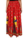 red Rayon Staple Gold Printed Straight Skirt for women (free Size) Waistband: Elastic