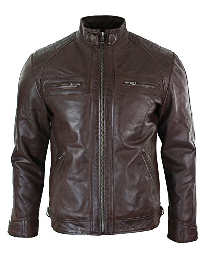 Herrenjacke 100% Echtleder Schwarz Braun Biker Stil Retro Weiches Leder Lässig (Leder Lässig Braun)