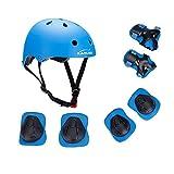 Set di protezione/sicurezza sportiva per bambini Kamugo, regolabile, con imbottiture protettive (casco, ginocchiera, gomitiera, polsiera), per pattini a rotella, bicicletta, BMX, skateboard, hoverboard e altri sport estremi, Blue