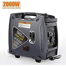 TACKLIFE Generador Portátil de Gasolina, 2000W Generador de Gasolina Eléctrico Silencioso, USB de Carga