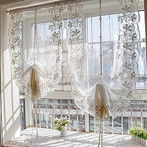 Spitze Gardinen, Stickerei Multi Funktions Aufhebung Gardine Aus Voile  Fächerförmige Halben Vorhang Balkontür Wohnzimmer