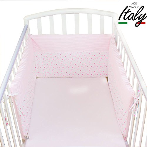 Babysanity - Paracolpi lettino sfoderabile rosa in cotone