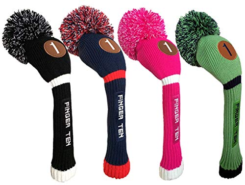 Pom Pom Golf Club Head Covers für Driver Fairway Hybrid-Holz, Vintage Knit Schwarz Blau Rosa 135Herren Damen Set, Dark Blue/Red, Hybrid