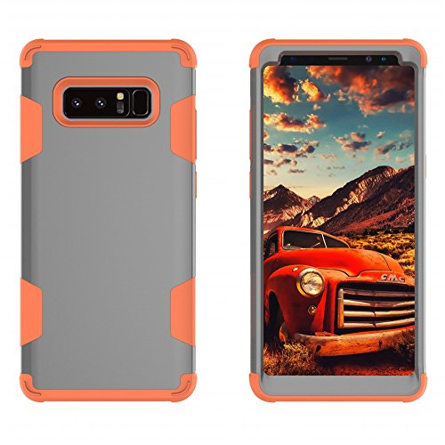 iPhone 8 Plus Coque DWaybox Contrast Color Design 3 in 1 Combo Hybrid Heavy Duty Armor Phone Hard Back Housse Coque pour Apple iPhone 8 Plus 5.5 Inch (Rose Gold + Gray) Gray + Orange