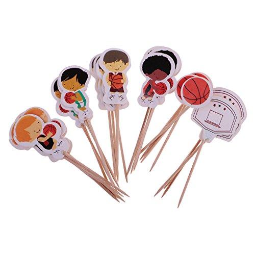 perfeclan 24er-Set Papier Picks Topper Aufsatz Stecker Zahnstocher für Kuchen Torten Cupcake Muffin usw. - Basketball
