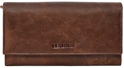 LEABAGS Charlotte Damen-Geldbeutel aus echtem Büffel-Leder imVintage Look
