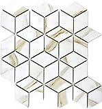 Mosaik Fliese Keramik weiß Diamant POV Calacatta für WAND BAD WC DUSCHE KÜCHE FLIESENSPIEGEL THEKENVERKLEIDUNG BADEWANNENVERKLEIDUNG Mosaikmatte Mosaikplatte