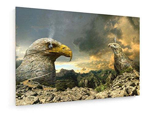Eagle Eye - 60x40 cm - Textil-Leinwandbild auf Keilrahmen - Wand-Bild - Kunst, Gemälde, Foto, Bild auf Leinwand - Tiere