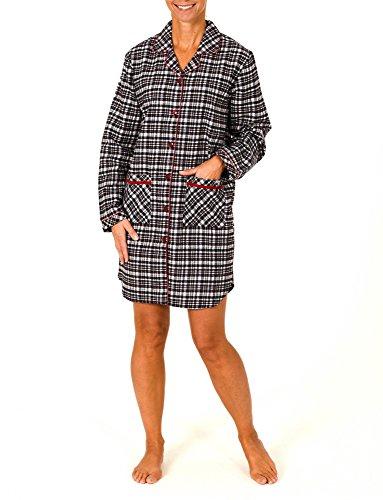 Damen Flanell Nachthemd langarm - auch in Übergrössen - 56279, Größe:36/38;Farbe:schwarz/weiss/rot