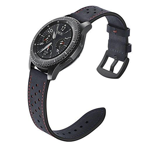 Aottom Gear S3 Frontier Armband Leder Armband Samsung Galaxy Watch 46mm Echtes Leder Ersatzband Gear S3 Classic Smartwatch Zubehör Sport band für 22mm Samsung Gear S3/Samsung Galaxy Watch 46mm