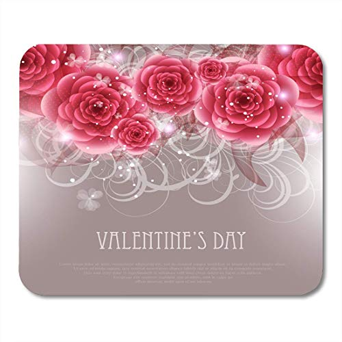 Deglogse Gaming-Mauspad-Matte, Red with Abstract Floral Greeting in Retro Elegance with Flowers Roses Vintage Style Valentine White Mouse Pad,Desktop Computers