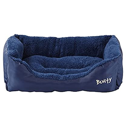 Deluxe Soft Washable Dog Pet Warm Basket Bed Cushion with Fleece Lining - Blue - Small 2