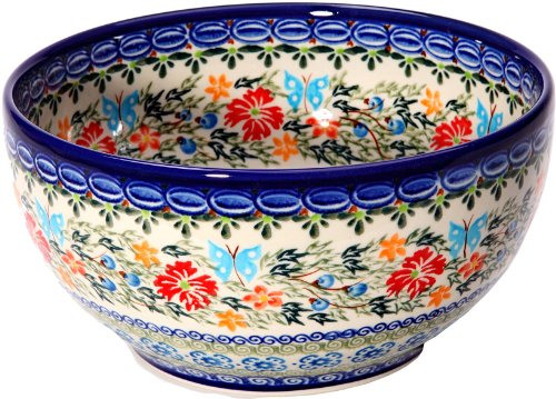 Polish Pottery Ceramika Boleslawiec Bowl Cups, Royal Blue Patterns with Red Cornflower and Blue Butterflies Motif, 5-1/4-Inch - Cornflower Blue Cup