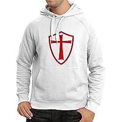 lepni.me Sudadera con Capucha Caballeros Templarios - Escudo de los Templarios (Medium Blanco Rojo)