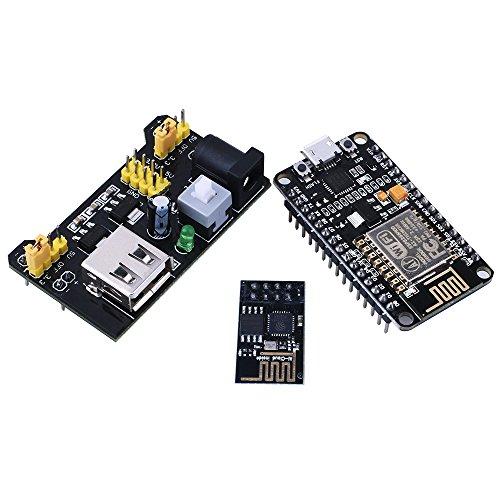 Kuman For Arduino NodeMCU LUA WiFi Internet ESP8266 Serial Development board + Wifi Wireless Transceiver Module Esp-01 + Breadboard Power Supply Module 3.3V/5V For Arduino Uno Board KY60 (KY60)