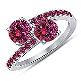 Vorra Fashion 925Remasuri platiniert RD Rosa Saphir Crossover 2Stein Bypass Twist Jahrestag Geschenk Ring