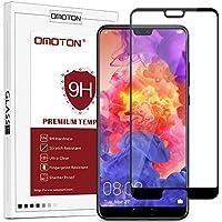 OMOTON Huawei P20 Film Protection Ecran Verre Trempé (5.8') [Couverture Complèt] [sans Bulles] Protecteur Ecran Noir